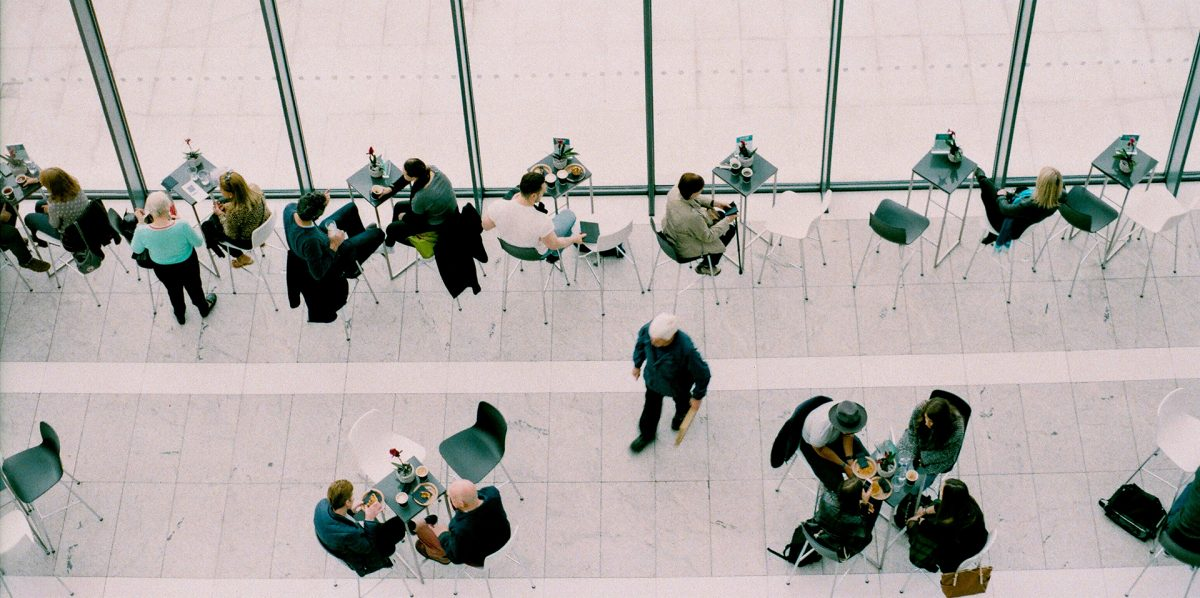 Group of tables and chairs in the sky garden for business meals