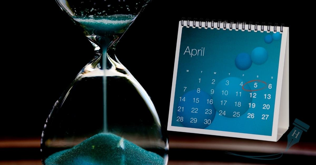 hourglass and April 5th calendar tax year end coming